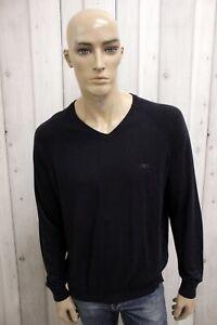 ARMANI-JEANS-Uomo-Maglione-Sweater-Blu-Man-Maglietta-Jersey-Shirt-Taglia-2XL