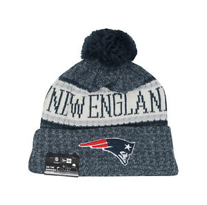 NEW ERA NFL New England Patriots Navy Blue Gray Pom Adult Beanie Hat ... d52fbaae00c4