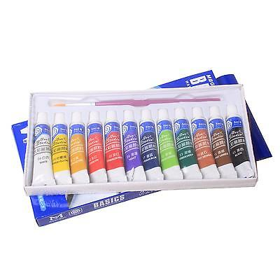 12 Colors 5ml Paints Tube Draw Painting Watercolor Set & Free A Paint Brush