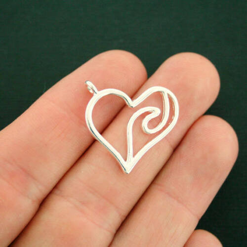 4 Wave Heart Charms Silver Tone SC7334