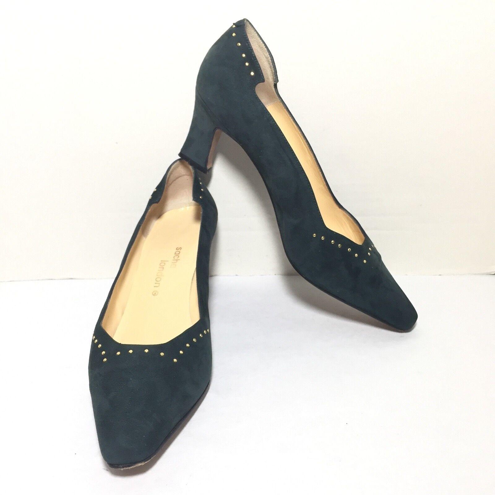 SACHA LONDON Women's Black Studded Suede Medium Heel Pumps Size 7 B