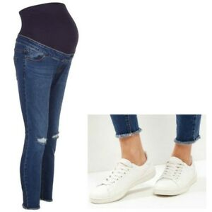 05f3649012c5e Maternity New Look Over Bump Skinny Ripped Jeans Blue Sizes 10 - 16 ...