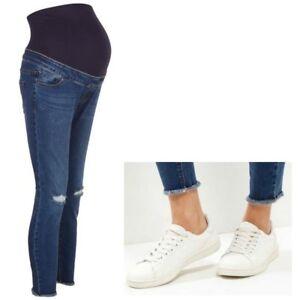 Maternity-New-Look-Oltre-Bump-Skinny-Strappato-Blu-Jeans-Taglie-10-12-14-16