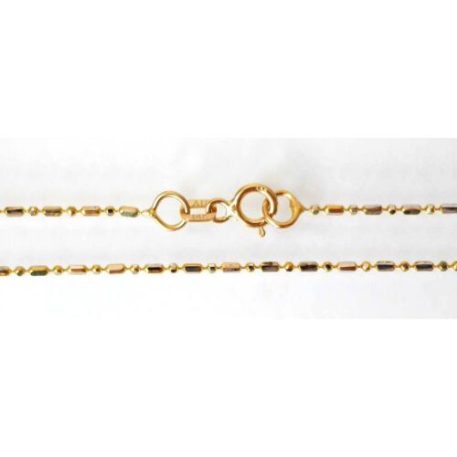 14k Solid 2 Tone Gold Bead-Bar Chain Anklet 1.2 mm 9.5 inches 1.4 Grams BB-12-90