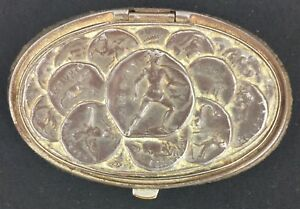 Antique-Leather-Coin-Purse-with-Ancient-Greek-Coin-Motif-Metal-Lid-Rare