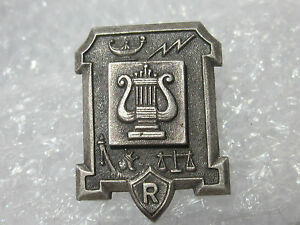 Old-Silver-Lyre-R-High-School-Music-Group-Award-Pin-Badge