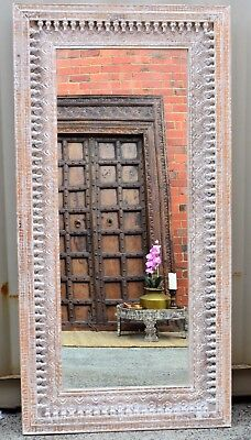 Hand Carved Vintage Indian Antique Wall Full Length Mirror Statement Piece Boho Ebay
