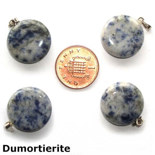 1 x Crystal Genuine Gemstone Disc Circle Sun Moon Coin Pendant Reiki Healing