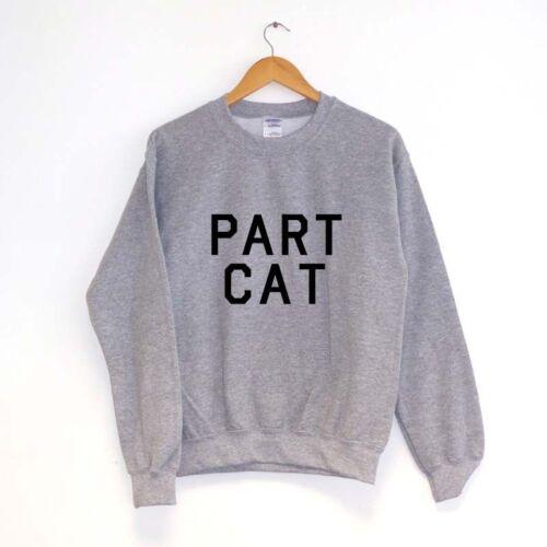 PART CAT SWEATER SWEATSHIRT JUMPER ootd kawaii animal word