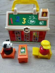 2008-Mattel-Fisher-Price-Little-People-Lunchbox-stile-Play-039-n-Go-Scuola-Set