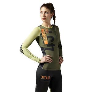 femmes-Reebok-Spartan-PRO-MANCHE-LONGUE-Compression-Haut-entrainement-WICKING