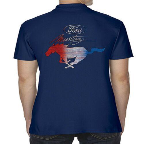 Herren Lizensiert Ford Mustang Polohemd Amerikanisch V8 Pony Muscle Auto Logo