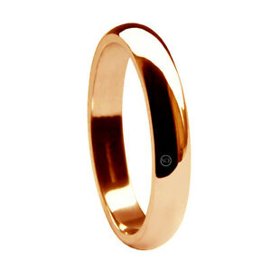 3mm-9ct-Red-Rose-Gold-D-Shape-Wedding-Rings-Heavy-UK-HM-Solid-2-5g-Bands-H-Q-NEW