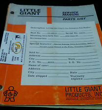 Little Giant Service Manual and Parts List Model GV-436-0