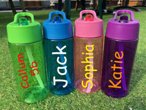Girls Boys about Bottle Name Custom Straw Love Details Gym Water Class Kids Flip Personalised WD9YbE2IeH