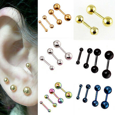 Earrings Helix Ball Barbell Ear Studs Pair 2Pcs Mens Stainless Steel Hot Gothic