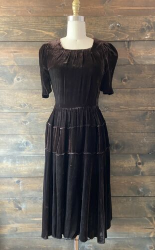 Vintage 30s 40s velvet dress dark brown true vinta