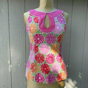 LILLY-PULITZER-Women-039-s-Size-6-Pink-Orange-Fruit-Print-Sleeveless-Keyhole-Top