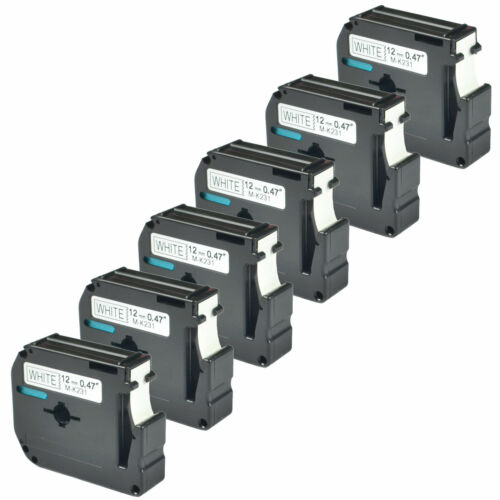 6PK M-K231 MK231 M231 12mm Black on White Lable Tape For Brother P-touch 70HOL