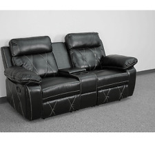 Reel Black Leather Home Theater 2-Seat Recliner Unit with Straight Cup Holders