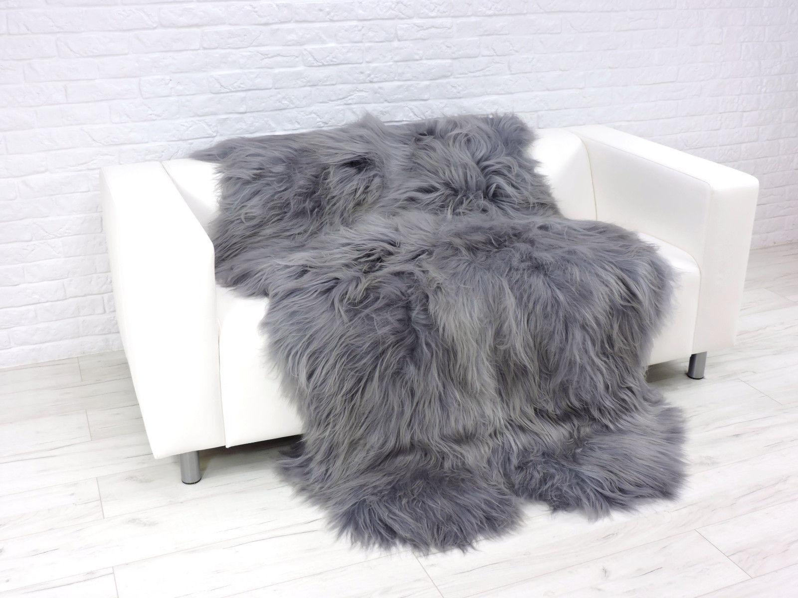 Luxus Echtes Isländisch Quad Schafsfell Teppich Silber     Dunkelgrau Gefärbt 35d155
