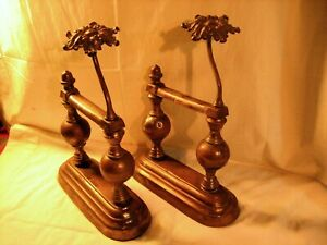 Pair Ornate Antique Cast Iron Brass Fireplace Tool Poker Rests