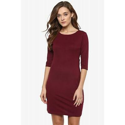 Miss Chase Maroon Solid Slim Fit Cut Out Mini Dresses (MCAW16D07-34-143)