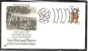 US-SC-1965-State-Birds-And-Flowers-Illinois-FDC-Artcraft-Cachet