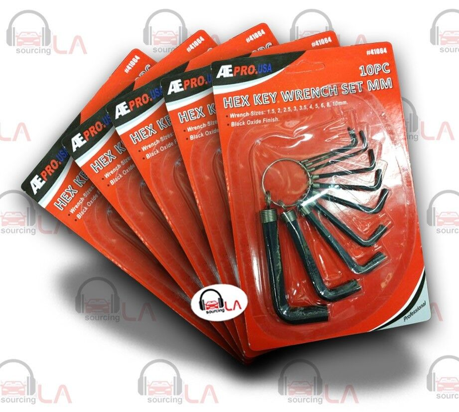 LOT of 5 Pro-Co 10 Pcs Hex Key Wrench -MM-