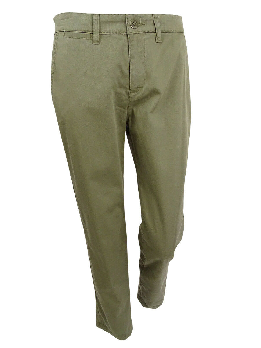Women's Lauren Ralph Lauren size 14 Green Twill Cotton Ankle Stretch Pants NWT