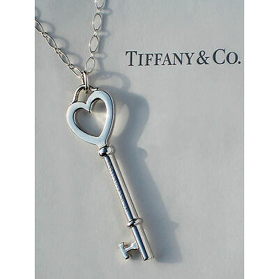 Tiffany & Co Large 2 Inch Heart Key 24 Inch Oval Link Sterling Silver Necklace