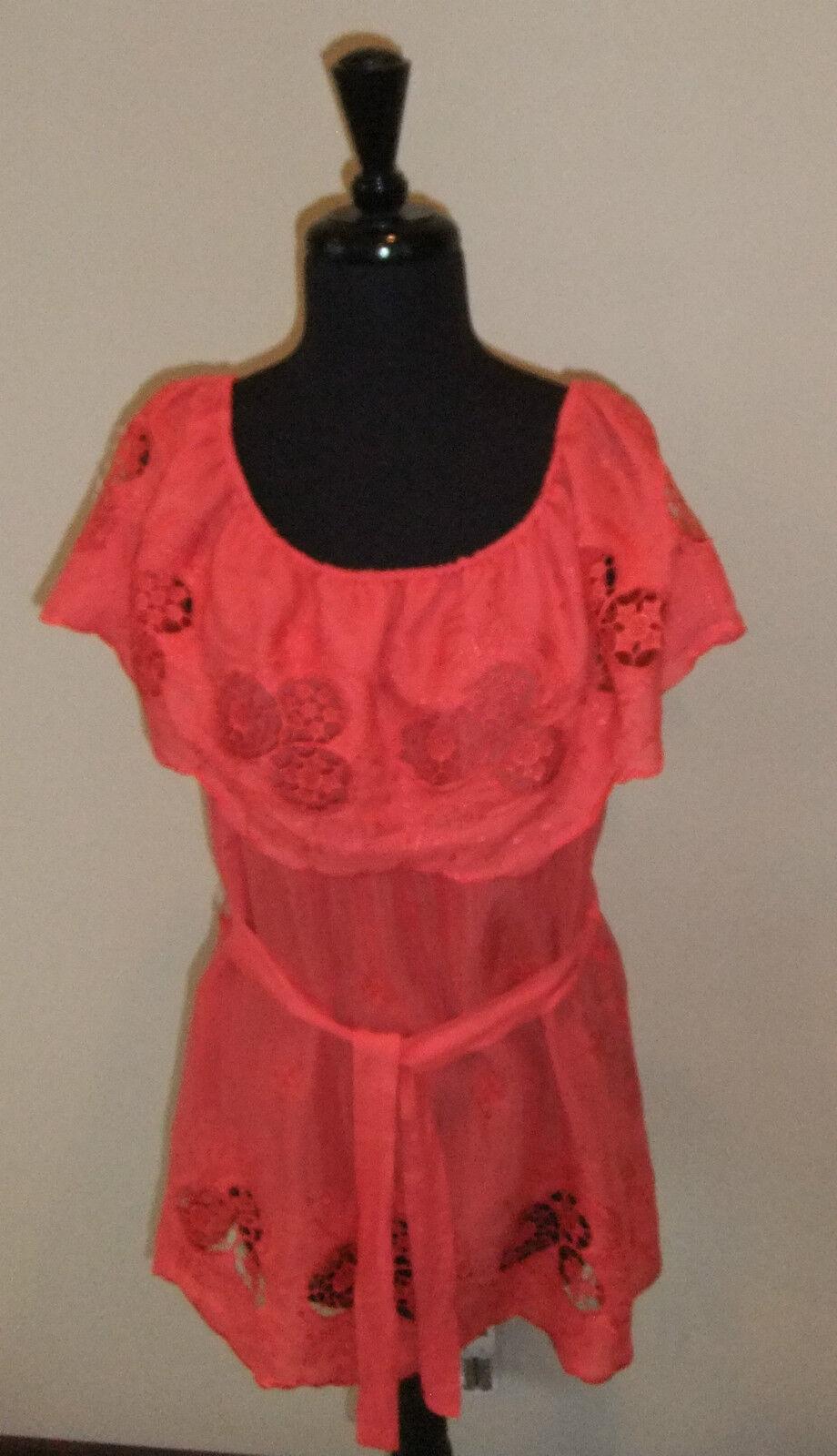 Swimware Cover, Arden B, Embroiderot Hot Coral Tunic, Größe S