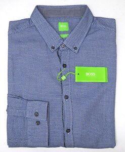 Image is loading NWT-125-Hugo-Boss-Shirt-Blue-Long-Sleeve-