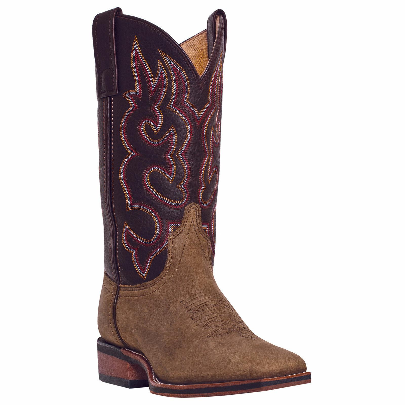 Larojoo para hombre Lodi Western Cowboy botas De Cuero Marrón Puntera Cuadrada Bordado amplia