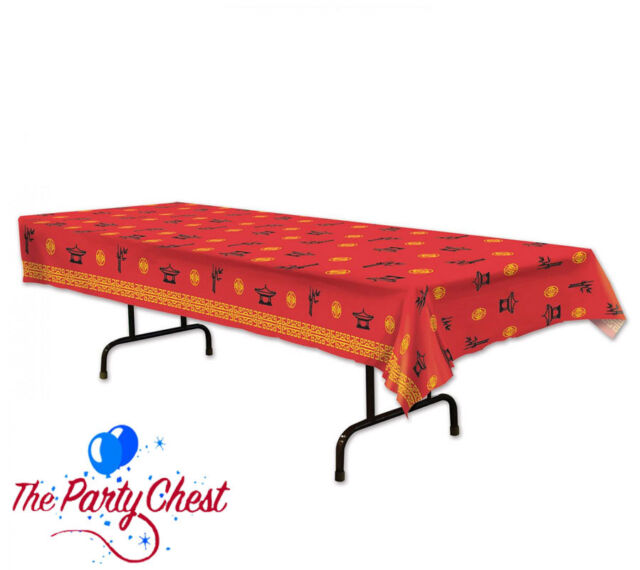 2.75M CHINESE NEW YEAR PLASTIC TABLECOVER Red Asian Themed Party Tableware 59966