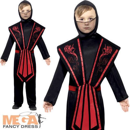 Ninja Boys Fancy Dress National Japanese Oriental Warrior Kid Childs Costume New