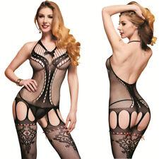 Combinaison résille ouvert sexy Bodystocking noir catsuits femme