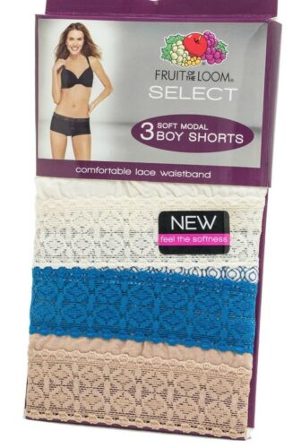 Fruit of the Loom Women/'s Select Soft Modal Underwear Boy Shorts  Lace 3 PACK