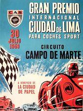 ADVERT RACE SPORT CAR GRAN PREMIO PERU GP 1959 LIMA ART POSTER PRINT LV243