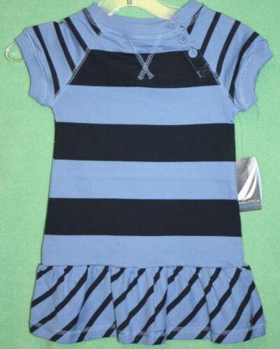 Naurica Dress Navy Blue Stripes Toddler girls 2T 3T Cotton Dress Buttons
