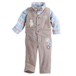 DISNEY STORE POOH FANCY PANTS SET FOR BABY BOY PANTS VEST BODYSUIT & BOW TIE NWT