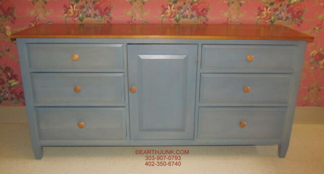 Ethan Allen Triple Dresser Country Colors Denim Blue With Wheat 14 5413