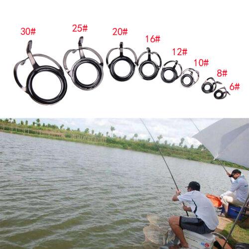 8pc 8 Size Fishing Rod Guide Tip Top Ring Circle Pole Repair Kit Set Fishing PT