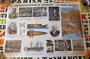 Objet De Métier Affiche Scolaire Navigation Vapeur Canal De Suez Morse Rossignol