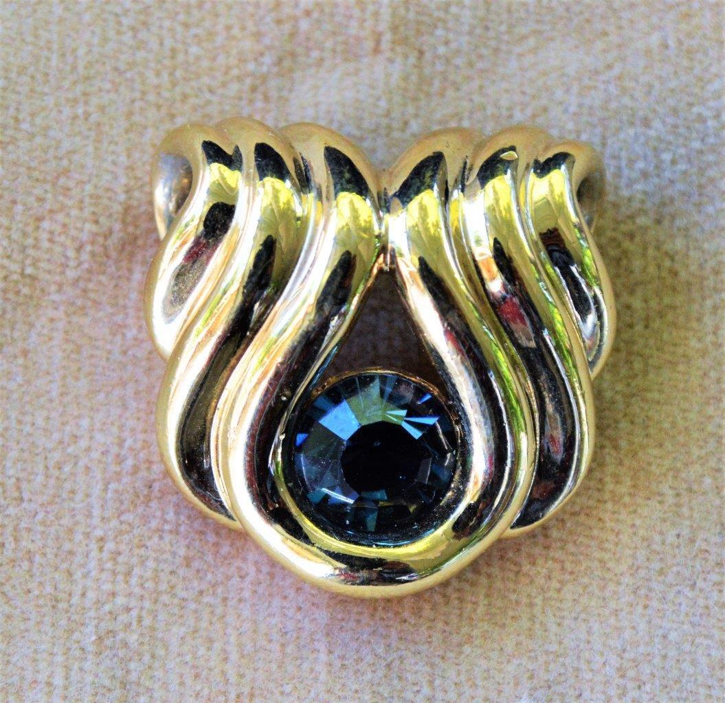 Vintage rare Beautiful Signed Nolan Miller Golden with Brooch Dark Blue Rhinestones  Collectible