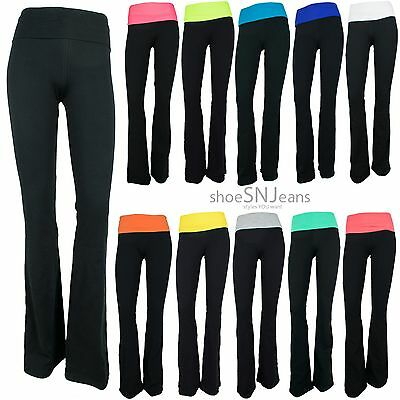 New Yoga Athletic Workout Training Color Waist Band Active Spandex Black Pants