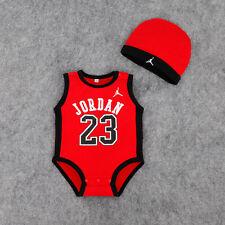NEW BABY JORDAN 23 ROMPER +HAT NEWBORN BOY SLEEVELESS BABYGROWS OUTFITS SET