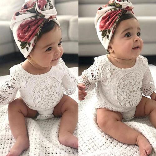 Newborn Baby Girl Summer Lace Romper Bodysuit Jumpsuit Clothes Outfits Set Hot