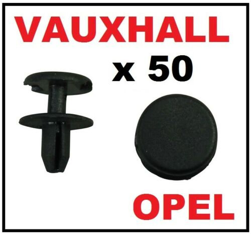 50 x Vauxhall Opel Astra Signum Vectra Avant Pare-chocs TRIM CLIPS Poussoir Type Rivets
