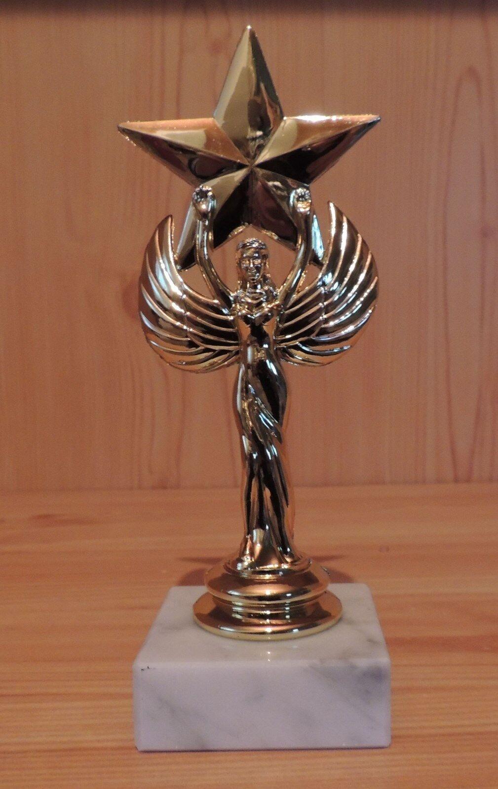 10 Figuren Engel + Stern Stern Stern mit Marmor 16cm (Torschütze Sieger Pokal Pokale Gravur) 330236